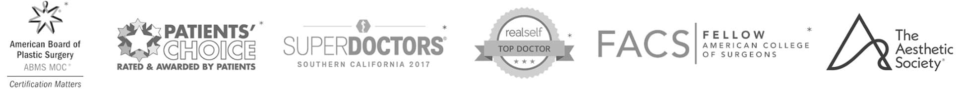 Logo's of Associations that South Bay Plastic Surgery belongs to