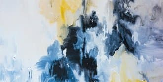 a close-up of a blue painting hung in the office