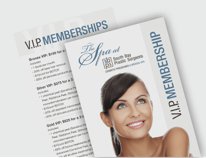 The Spa at SBPS VIP membership brochures