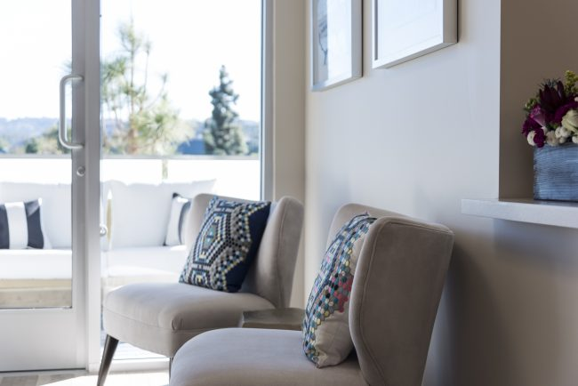 White Chairs with Pillows at South Bay Plastic Surgeons